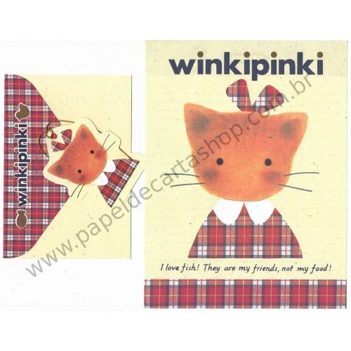 Ano 1991. Conjunto de Papel de Carta Winkipinki CRE Vintage Sanrio