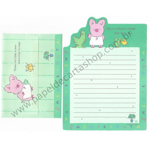 Ano 1991. Conjunto de Papel de Carta Zashikibuta The Best One Vintage Sanrio
