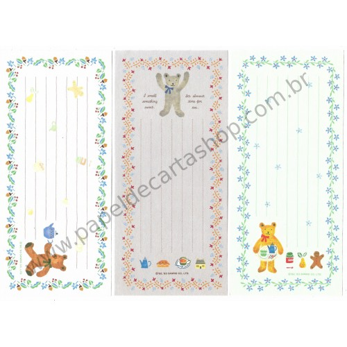 Ano 1993. Kit 3 Notas Grandes Honeyfield Vintage Sanrio