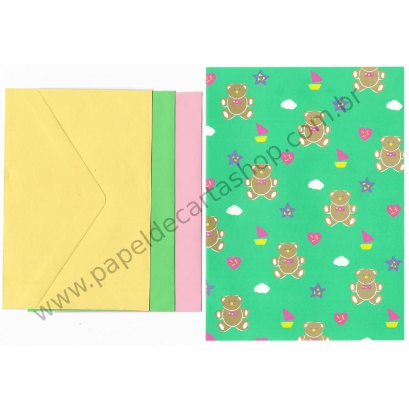 Ano 1987. Conjunto de Papel de Carta Bear Tin Colors Vintage Sanrio