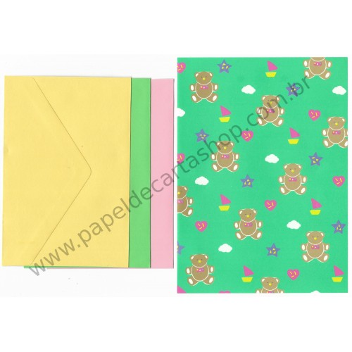 Ano 1987. Conjunto de Papel de Carta Bear Tin Colors Vintage Sanrio