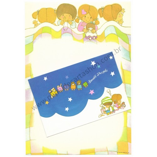 Ano 1976. Conjunto de Papel de Carta Small People Vintage Sanrio