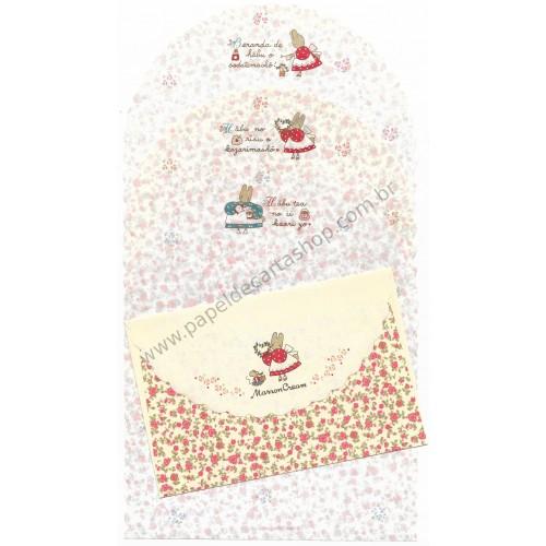 Ano 1990. Conjunto de Papel de Carta Marron Cream Trio Vintage Sanrio