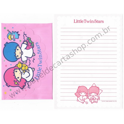 Ano 1989. Conjunto de Papel de Carta Little Twin Stars Antigo (Vintage) Sanrio