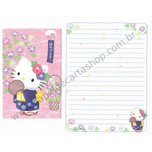 Ano 2000. Conjunto de Papel de Carta Gotōchi Kitty Kimono Regional Japão Sanrio