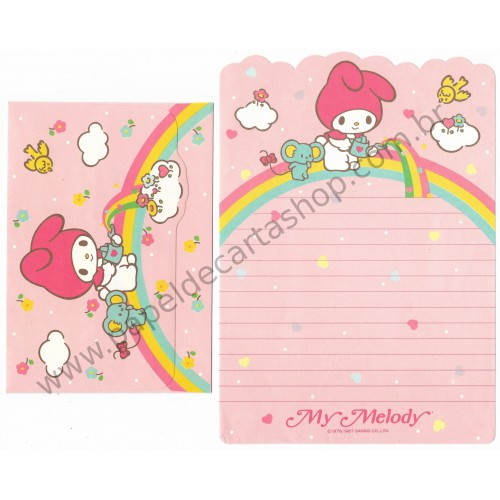 Ano 1987. Conjunto de Papel de Carta My Melody Rainbow Vintage Sanrio