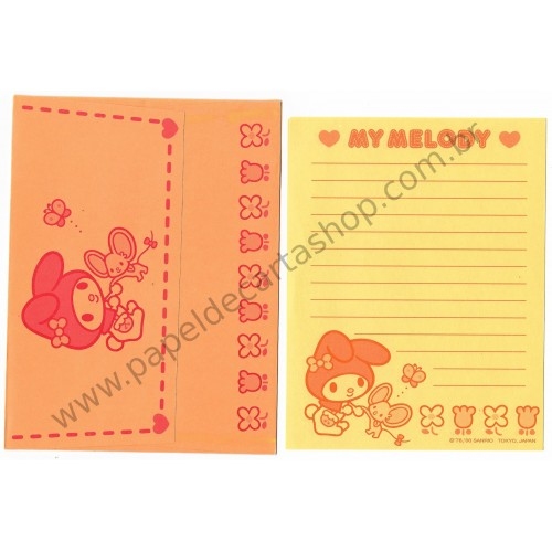 Ano 2000. Conjunto de Papel de Carta My Melody Orange Vintage Sanrio
