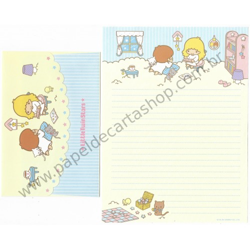 Ano 2005. Conjunto de Papel de Carta Little Twin Stars Little RD Sanrio
