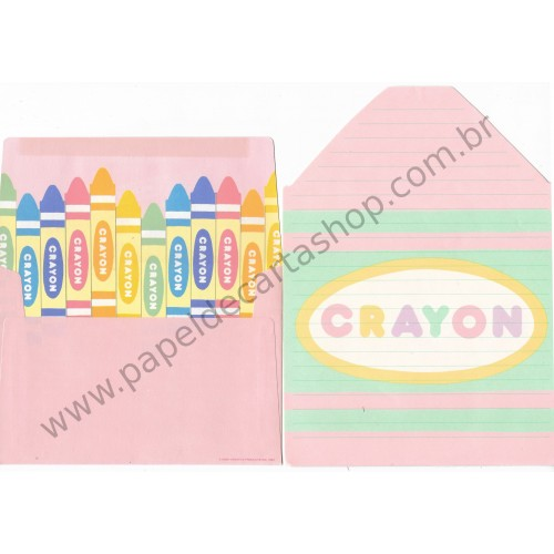Ano 1983. Conjunto de Papel de Carta Vintage Crayons SONY