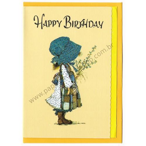 Notecard Antigo Grande AM Holly Hobbie Happy Birthday