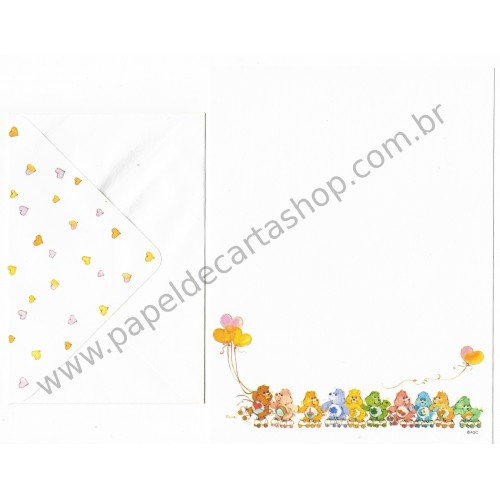 Conjunto de Papel de Carta ANTIGO Importado Ursinhos Carinhosos Roller - AG