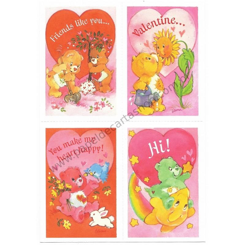Kit 4 Mini-Cartões de Mensagem Valentines Antigo Importado Ursinhos Carinhosos