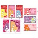 Kit 8 Mini-Cartões de Mensagem Valentines Antigo Importado Ursinhos Carinhosos