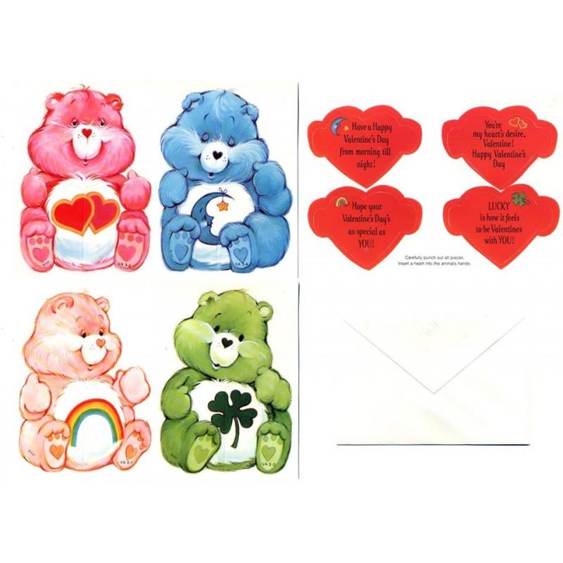 Kit 8 Mini-Cartões de Mensagem Valentines Antigo Importado Ursinhos Carinhosos2