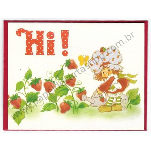 Cartão ANTIGO com Envelope Moranguinho Hi! CBR - AG