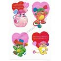 Kit 4 Mini-Cartões de Mensagem Valentines Antigo Importado Popples