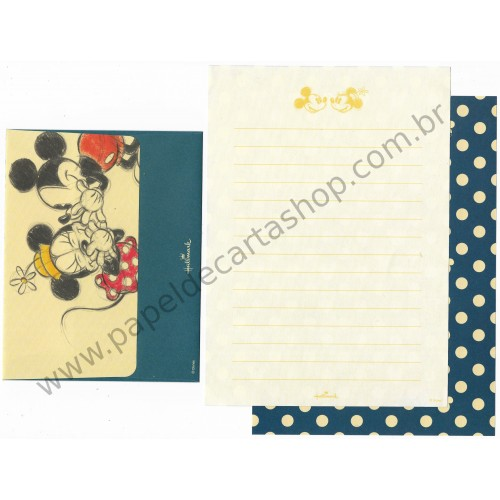 Conjunto de Papel de Carta Disney Mickey Blue Dots - Hallmark