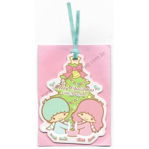 Ano 2013. Cartão Tag Merry Christmas Little Twin Stars TREE SANRIO