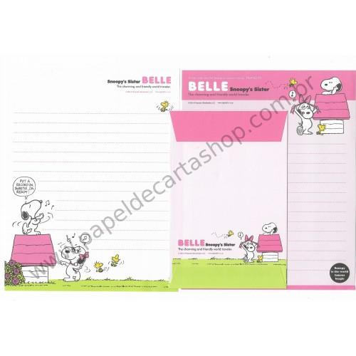 Kit 2 Conjuntos de Papel de Carta Belle Snoopy's Sister Peanuts 2014