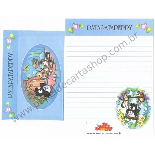 Ano 1997. Conjunto de Papel de Carta Patapatapeppy CAZ Vintage Sanrio