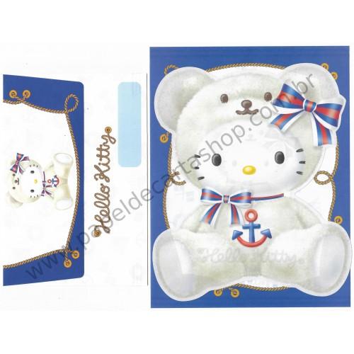 Ano 2002. Conjunto de Papel de Carta Hello Kitty Yokohama Bear Sanrio