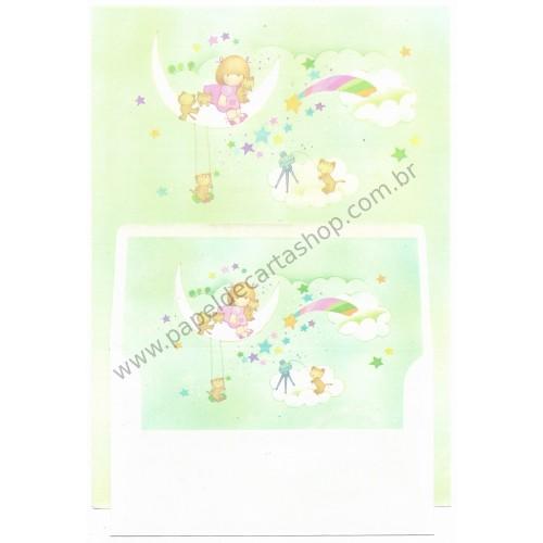 Conjunto de Papel de Carta Vintage Arisu No Heya (Verde)