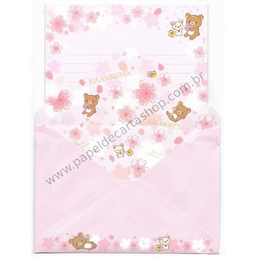 Conjunto de Papel de Carta Importado Rilakkuma Cherry Blossom (CRS)