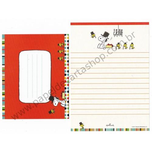 Conjunto de Papel de Carta Snoopy Cartola - Vintage Peanuts Hallmark