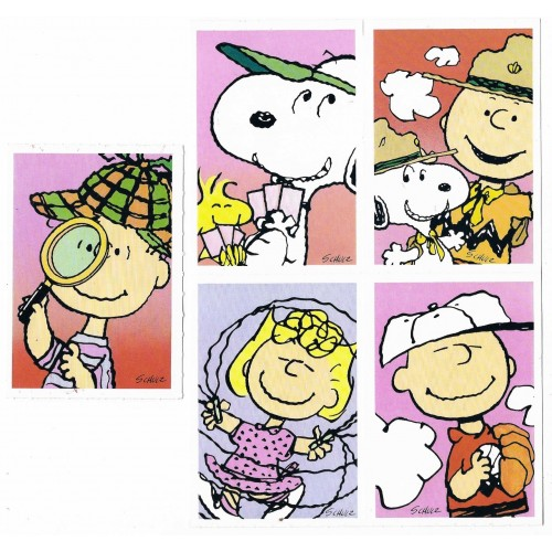 Kit 5 Mini-Cartões de Mensagem Valentines Antigo Importado Snoopy1