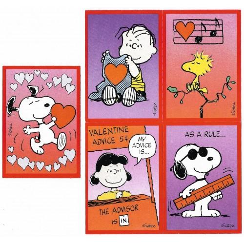 Kit 5 Mini-Cartões de Mensagem Valentines Antigo Importado Snoopy2