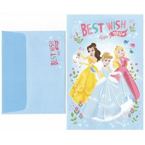 Mini Conjunto de Papel de Carta Disney PRINCESS Best Wishes for You