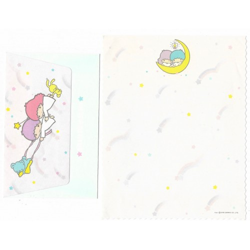 Ano 1976. Conjunto de Papel de Carta Little Twin Stars Moon Sanrio
