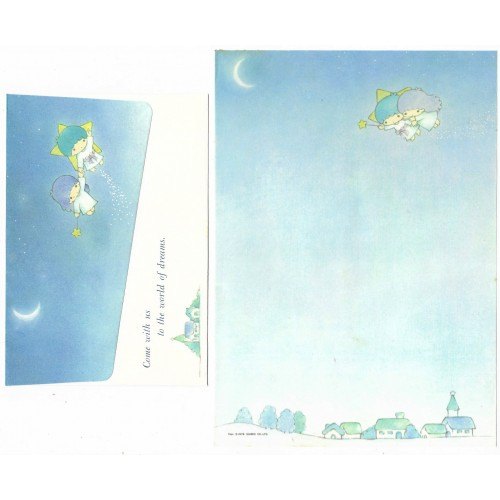Ano 1976. Conjunto de Papel de Carta Little Twin Stars Moon Sanrio