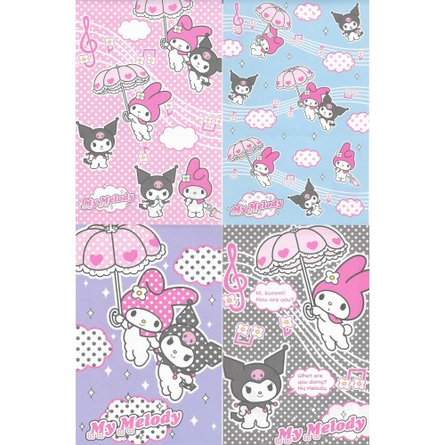 Ano 2005. Kit 4 Notas My Melody & Kuromi Umbrella Sanrio