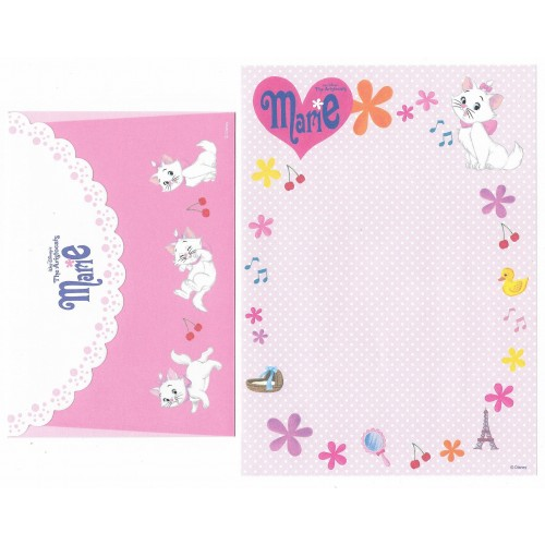 Kit 4 Conjuntos de Papel de Carta Disney The Aristocats Marie