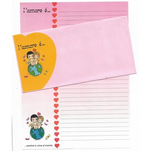 Conjunto de Papel de Carta ANTIGO Importado L'amore é CRS