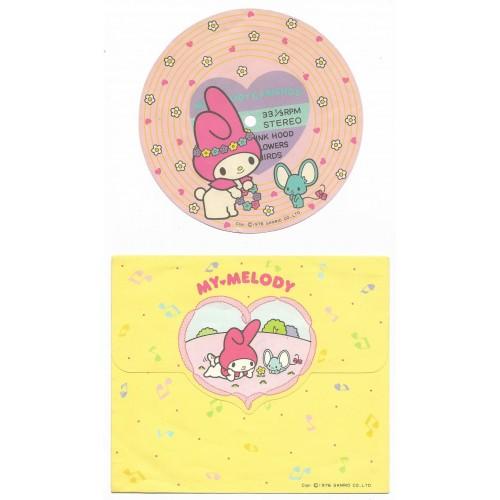 Ano 1976. Conjunto de Papel de Carta My Melody Disc Vintage Sanrio