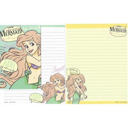 Kit 2 Conjuntos de Papel de Carta Importado Disney Little Mermaid
