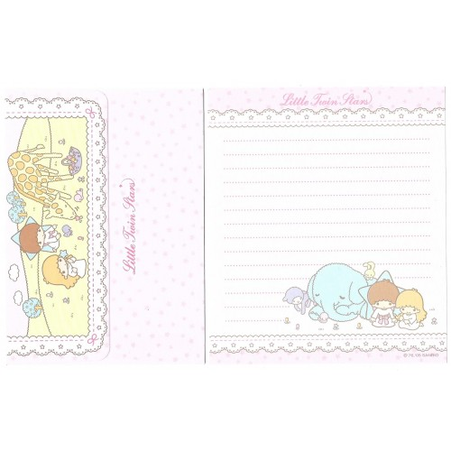 Ano 2005. Conjunto de Papel de Carta Little Twin Stars Elephant Sanrio