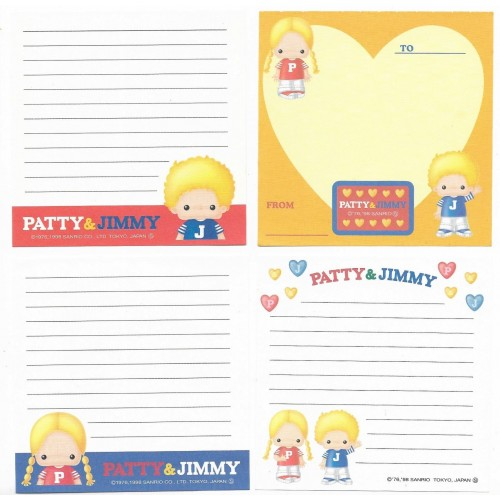 Ano 1998. Kit 4 Notas Patty & Jimmy Sanrio