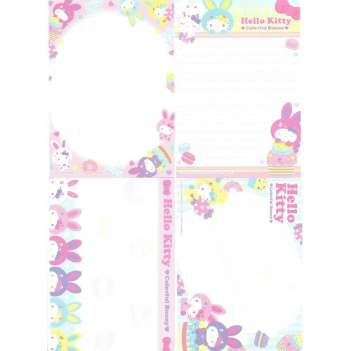 Ano 2010. Kit 4 Notas Hello Kitty Colorful Bunny Sanrio