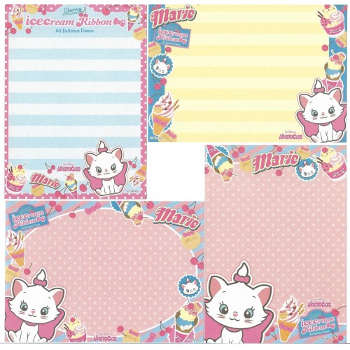 Kit 4 NOTAS Marie Ice Cream Ribbon Cherry Disney Sun-Star