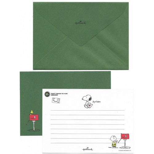 Conjunto de Papel de Carta Snoopy Through The Years 80s Peanuts Hmk