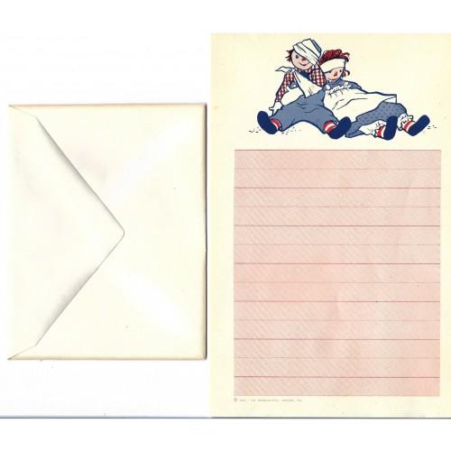 Ano 1961. Conjunto de Papel de Carta Importado Raggedy Ann & Andy CRS2
