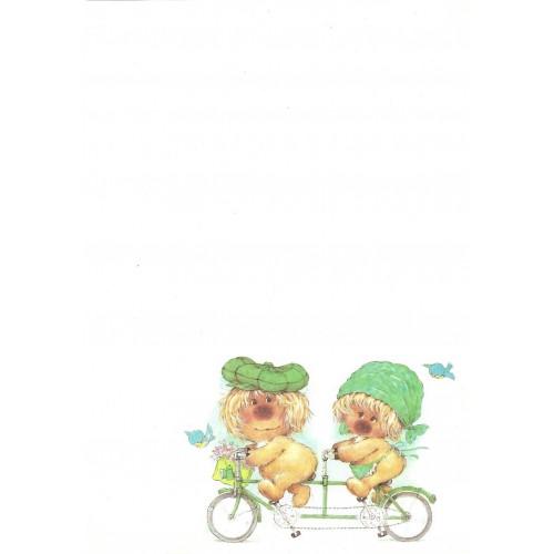 Papel de Carta Antigo Coleção Woofit Fofinhos Bike Green