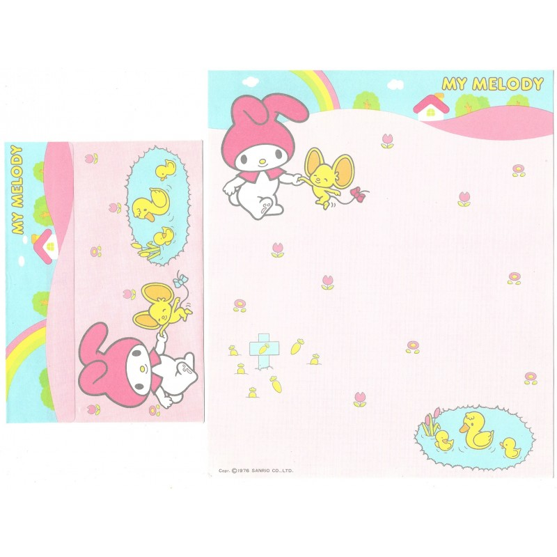 Ano 1976 Conjunto de Papel de Carta My Melody Friends Sanrio