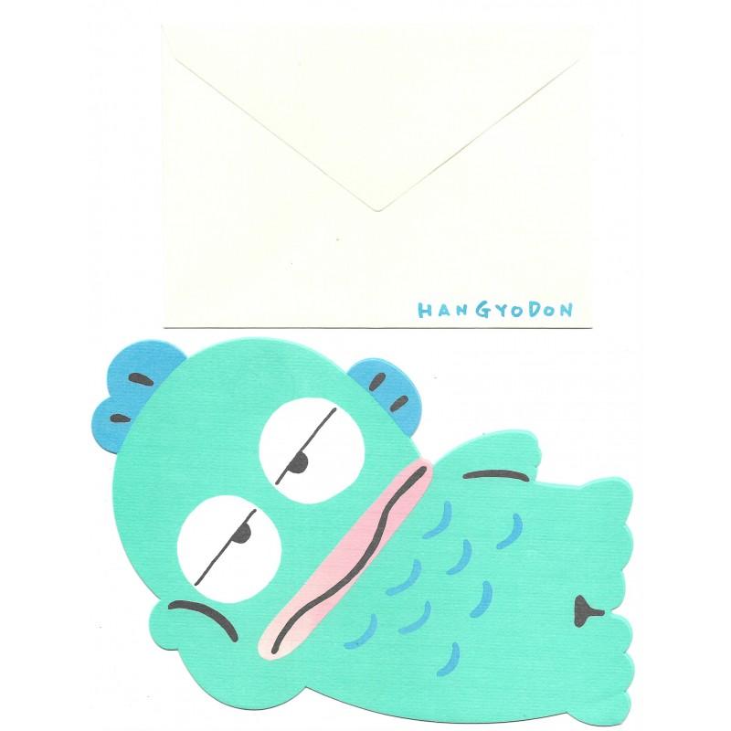 Ano 1993. Conjunto de Papel de Carta Hangyodon Antigo (Vintage) Sanrio