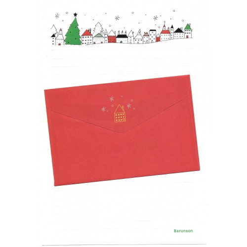 Conjunto de Papel de Carta Importado Christmas Tree Barunson
