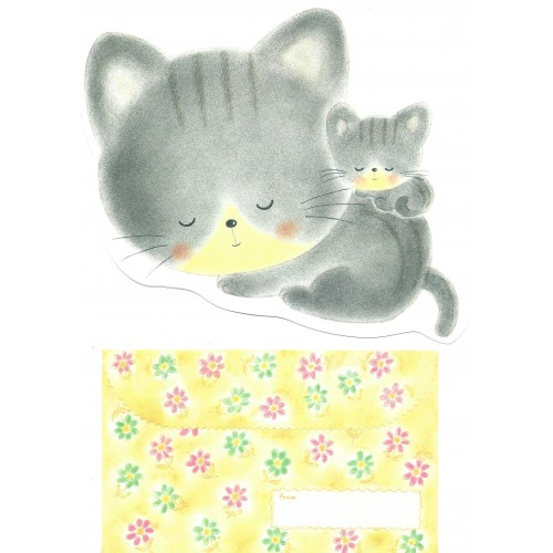 Conjunto de Papel de Carta Vintage Cats Grey Jey Jey Co