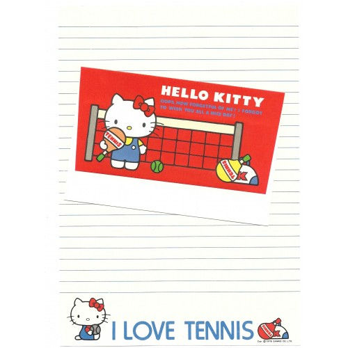 Ano 1976. Conjunto de Papel de Carta Hello Kitty Tennis Vintage Sanrio